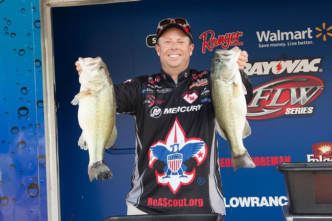 Tom Redington traveled all the way from Texas to fish Kentucky Lake, and the trip is paying off. His 24-pound, 12-ounce limit has him in fourth place.