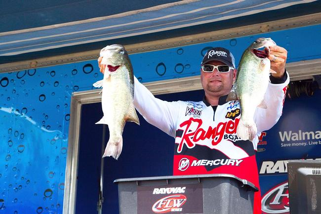 Jason Lambert caught 24 pounds, 3 ounces on day two at the Kentucky Lake Rayovac FLW Series event to move into first place by just 7 ounces.