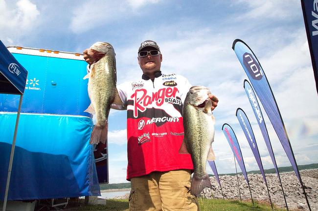 Two big bites helped Jason Lambert jump into the lead going into the weekend at the Kentucky Lake Rayovac FLW Series event.