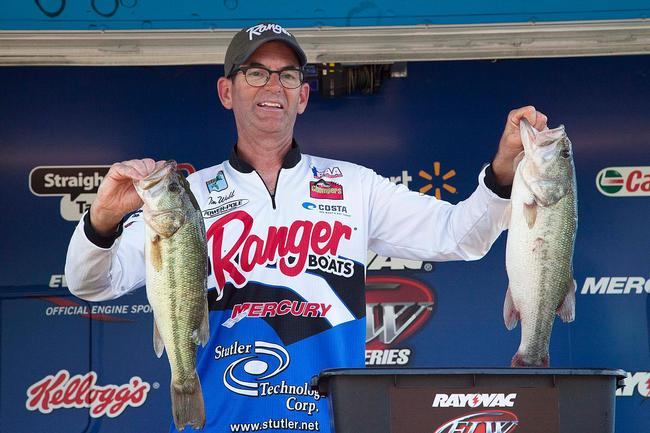 Co-angler Tim Webb came all the way from Olpe, Kan., to fish the Rayovac event on Kentucky Lake. He
