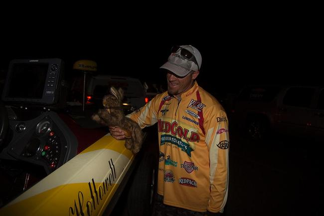 Todd Hollowell shows off his lucky rabbit. Whatever makes him feel confident, right?