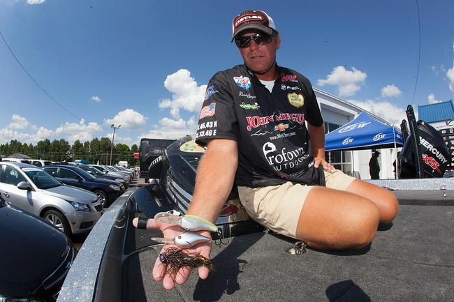 A Strike King 10XD, Profound Outdoors Z-Boss 20 crankbait and a football jig were Randy Haynes