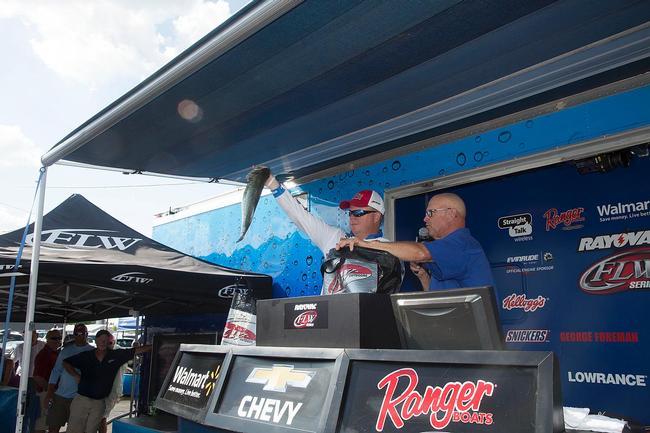 Mark Rose started the day in 10th place but made a huge run today with more than 27 pounds. Crankbaits were key to his success.