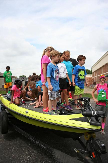 Florence, Ala., elementary students learn about fish-finding electronics.