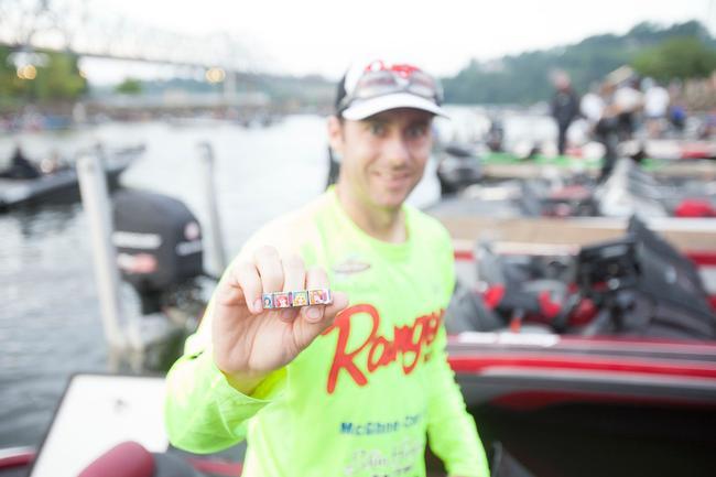 Matt Randles shows off his lucky charm, a Disney princess bracelet. We