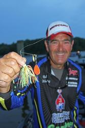 Rick Nitkiewicz hopes his brightly colored spinnerbait will deliver a hefty limit.