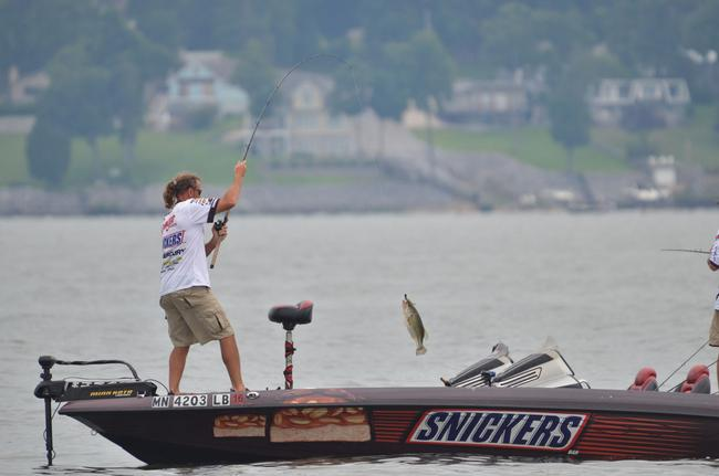 Snickers pro Jim Moynagh loves Kentucky Lake and throwing his football jig on the ledges.