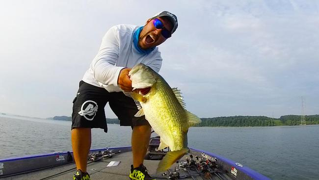 iON captures Richard Peek landing a giant bass on Kentucky Lake.