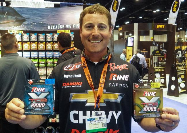 ICAST - Line - P-Line TCB Braid - TCB stands for Teflon Coated Braid. Bryan Thrift compared the effect of the coating on braided line to the effect of the coating on non-stick pots and pans. The coated braid is smooth and slick, which allows you to cast farther and keeps the line from getting locked down in the spool on a hard hookset. TCB Braid comes in four- and eight-carrier versions. $14.99 to 18.99 for 150 yards P-Line.com