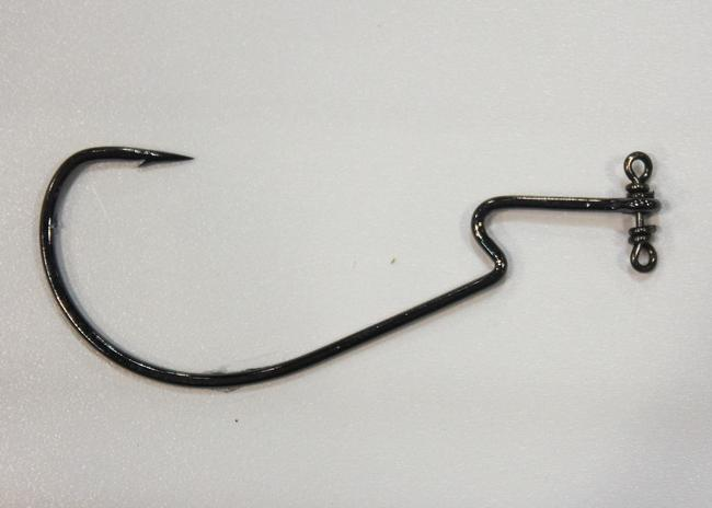 ICAST - Terminal Tackle - VMC Powershot Hook - The Powershot combines a Z-bend worm hook with a swivel device that gives drop-shot baits freedom-of-movement while eliminating line twist. It comes in 3/0 to 5/0. VMCHooks.com