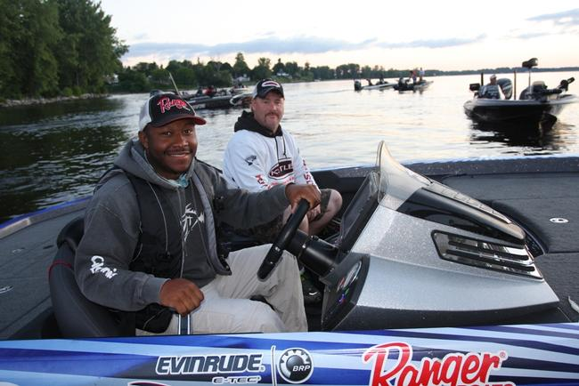 Pro angler Mark Daniels Jr., and his co-angler are ready for takeoff.