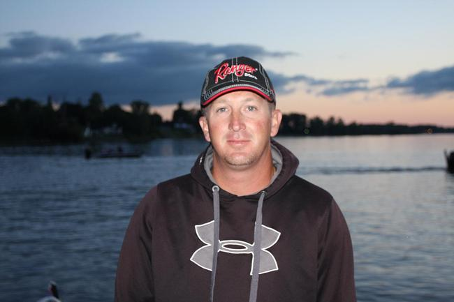 Pro Bryan Schmitt prepares for the Rayovac FLW Series event on Lake Champlain.