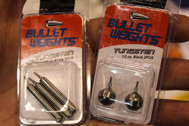 ICAST - Terminal Tackle - Bullet Weights Tungsten Drop-Shot Sinkers - Bullet Weights has incorporated dense, ultra-sensitive tungsten into its line of drop-shot sinkers. They come in round and the cylindrical