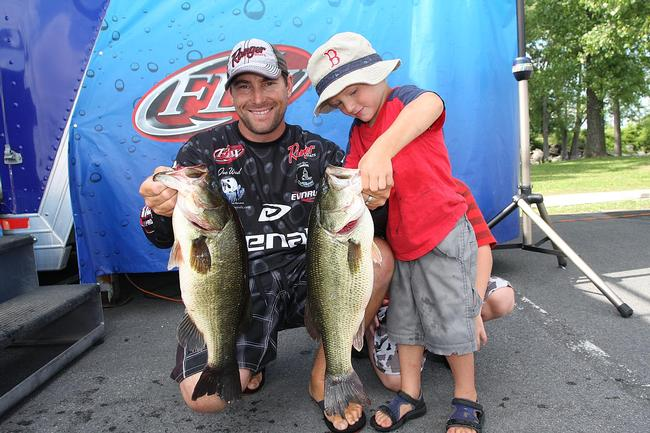 Pro Joe Wood of Westport, Ma., placed fourth with 19 pounds, 10 ounces, on day one.
