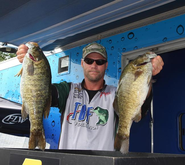 Steve Brinster of Vernon, N.J., weighed in 18 pounds, 2 ounces to grab the co-angler lead on day one.