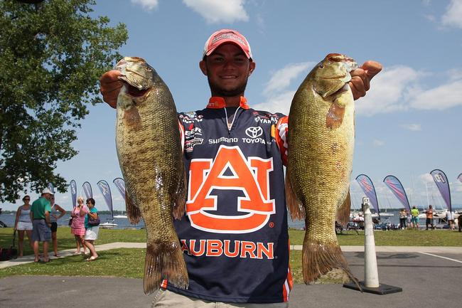 Jordan Lee of Auburn, Ala., jumped from fifth to second on day two at Lake Champlain with an 18-pound, 3-ounce limit.