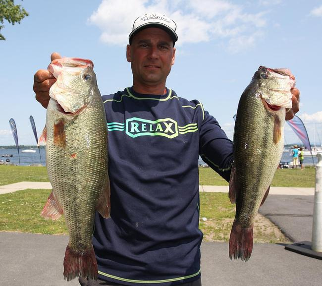 Pro Michael Marini of Slingerlands, N.Y., claimed fourth place on day two with a limit weighing 18 pounds, 8 ounces.