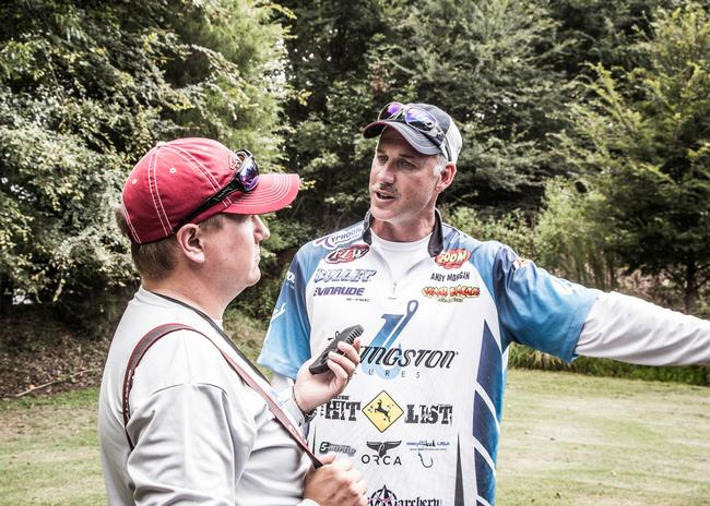 BassFan's Todd Ceisner gets an update from Walmart FLW Tour Angler of the Year Andy Morgan at Forrest Wood Cup Media Day.