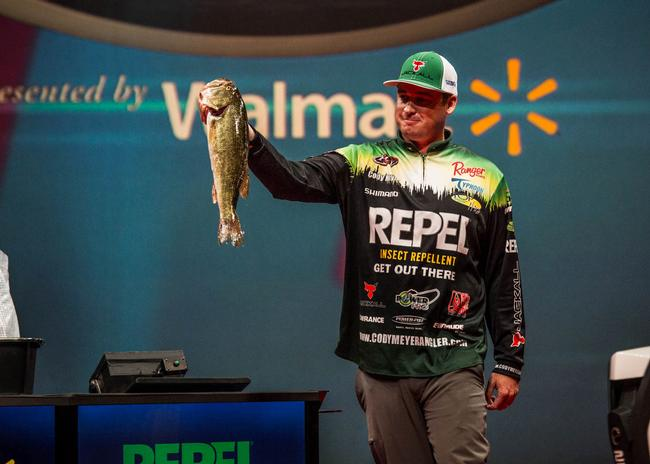 Mr. Consistency Cody Meyer caught a 14-pound, 9-ounce limit on day one to move into a tie for second place with Bryan Thrift.
