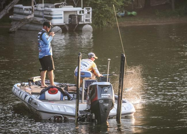 Rayovac pro Jacob Wheeler boating his first keeper of the day. It looks like second place co-angler Chris Burgan is a very capable net man.