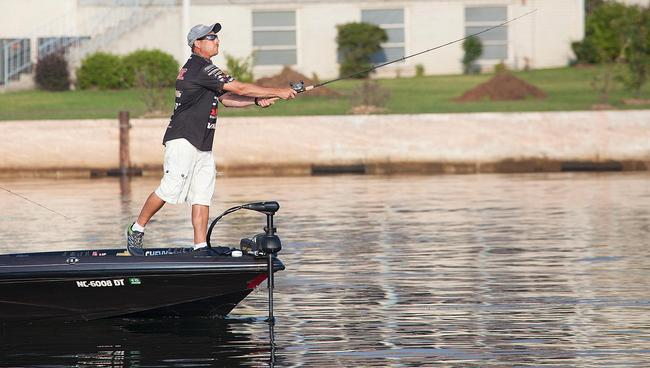 Chevy pro Brian Thrift launches a cast. Thrift held down third place going into day three.