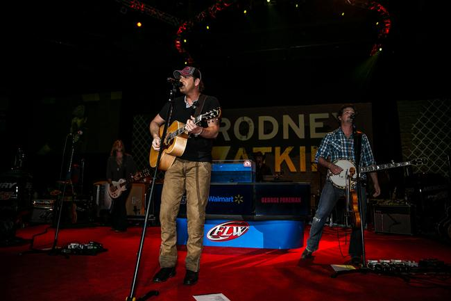 Rodney Atkins performed on the Forrest Wood Cup stage prior to weigh-in. The crowd loved it almost as much as they loved what was to come in the weigh-in.