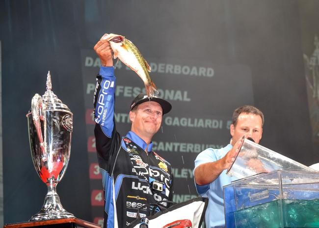 Brent Ehrler hoists his best bass from day four. He fell ounces shy of winning the Forrest Wood cup for the second time.