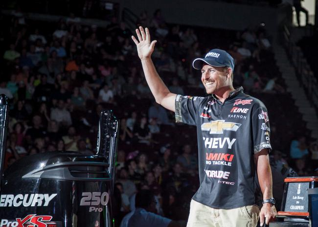 Chevy pro Bryan Thrift was all smiles despite a hard day on the water.