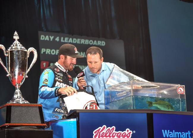 Rayovac pro Jacob Wheeler only brought one Lake Murray bass to weigh-in on the final day of the Forrest Wood Cup.