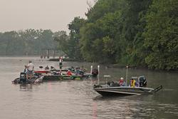 Anglers await the day-one takeoff on the James River.