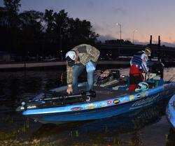 Walmart pro Mark Rose powers up his Lowrance units before getting to work.