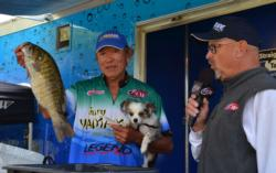 Thanks to this smallmouth at the end of the day, Gary Yamamoto sits in third place with his 16-pound catch.
