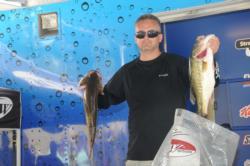 Corbett Ross of Port Neches, Texas, leads the Co-angler Division after day one with 18 pounds, 13 ounces.