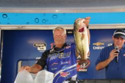 Albert Collins of Nacogdoches, Texas caught the big bass in the Pro Division weighing 6 pounds, 15 ounces to put him in fourth place on day one.