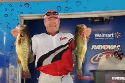 Charlie King of Coushatta, La., holds down the second place spot after day one with five bass for 18 pounds, 7 ounces.