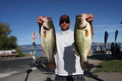 Dan Sweat sits in second place with 28 pounds, 7 ounces, on day one of the Rayovac FLW Series event on Clear Lake.