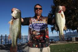 Henderson, Nev., pro Clayton Meyer weighed in 18 pounds, 15 ounces to remain in fifth place on day two of the Rayovac FLW Series event on Clear Lake.