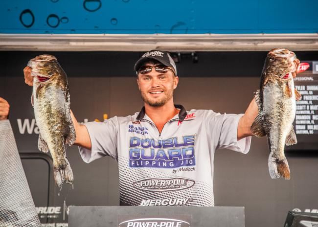 He's a local favorite, and after a mediocre day one in which he weighed in only 12 pounds, 6 ounces, Brandon Medlock cracked 26-15, the tournament's biggest limit, on day two to vault into second place.