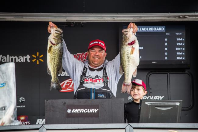 Jay Kendrick is from nearby and seems to be enjoying Guntersville's home cooking. He moved up to third place on day two.