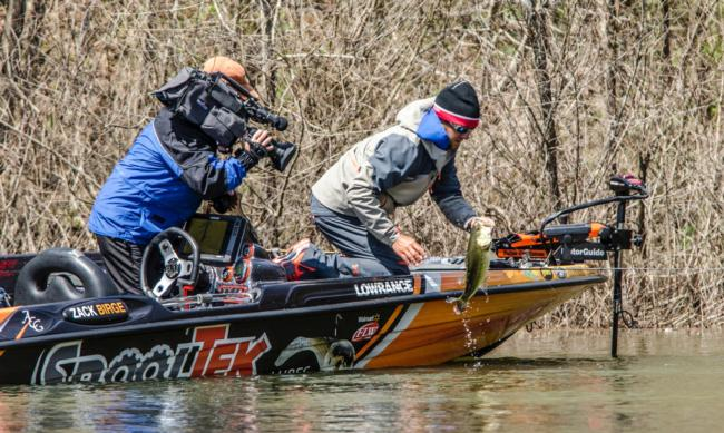 Zack Birge hauls another one to the boat on day three of the Walmart FLW Tour on Lewis Smith Lake. This one might be the game changer.