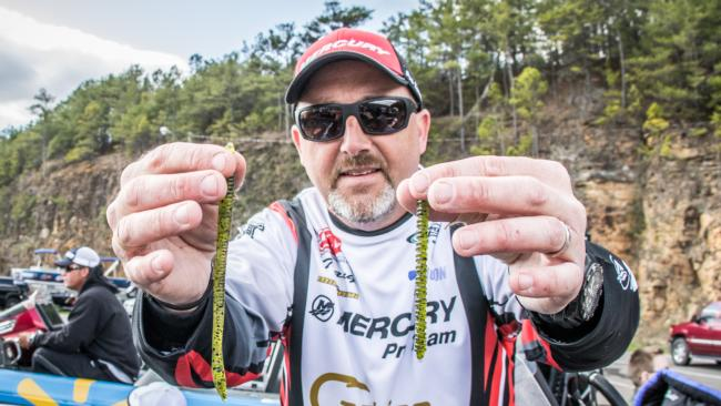 Tracy Adams captured fourth place with a watermelon-colored Zoom Trick Worm rigged on a Jackall Flick Shake jighead and a Texas-rigged Zoom Centipede in the same color.