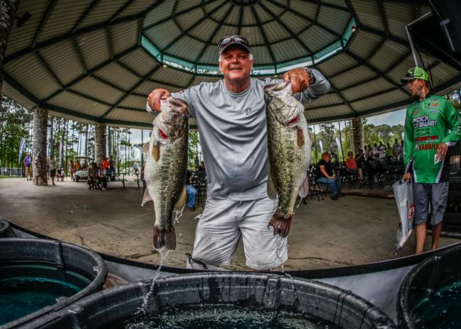 Jeff Cade shows off a nice pair of Sam Rayburn beauties.