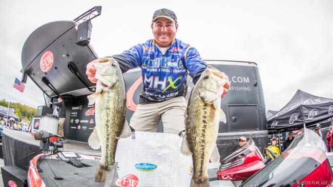 Pro John Cox is in 23rd place after day one of the Walmart FLW Tour on Beaver Lake with 12-4.