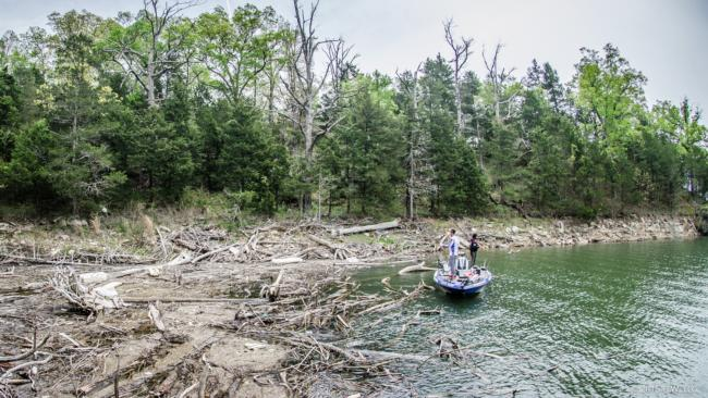 Jacob Wheeler is targeting bed fish on day two of the Walmart FLW Tour on Beaver Lake.