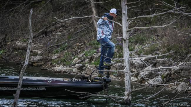 Pro Wesley Strader is trying to get some height advantage on day three of the Walmart FLW Tour on Beaver Lake.
