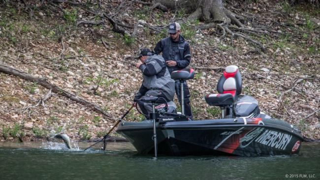 Pro Tracy Adams pulls one off a bed on the final day of the Walmart FLW Tour on Beaver Lake. It took about two hours but it was worth the wait as she was estimated to weigh 3 1/2 - 4 pounds.