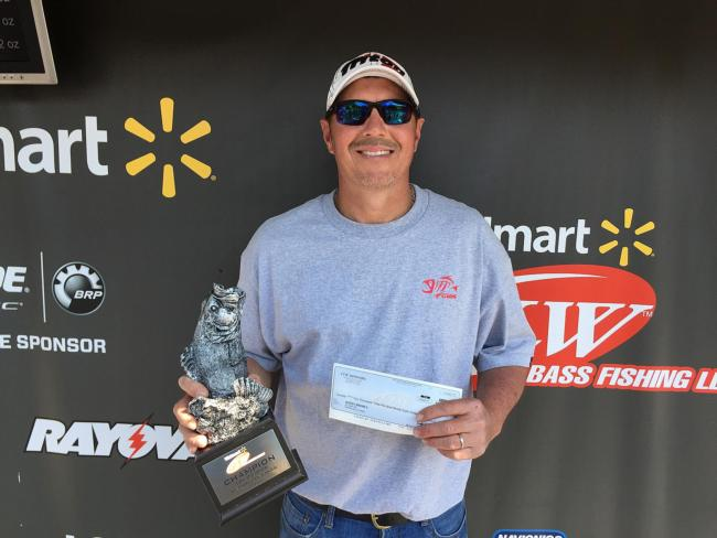 Co-angler Jimmy Rhodus of Versailles, Ky., won the May 2 LBL Division tournament on Kentucky-Barkley Lakes with 11 pounds, 7 ounces. He was awarded over $2,300 for his efforts.