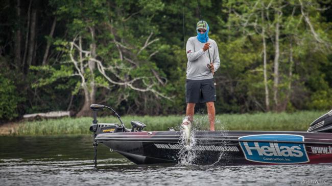 AOY leader Wesley Strader swings a fish aboard on day two.