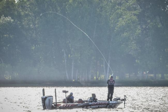 Bryan Thrift gets some extreme distance and height on his casts.
