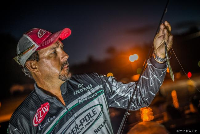 Darrell Davis relied heavily on a payback-colored Reaction Innovations Pocket Rocket that he Texas-rigged with a 1/4-ounce weight. He also caught shallow kickers on a SPRO Bronzeye Poppin' Frog and by flipping an Okeechobee craw-colored Reaction Innovations Sweet Beaver.